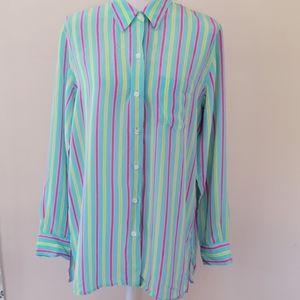 Evan Picone silk striped button down size 14